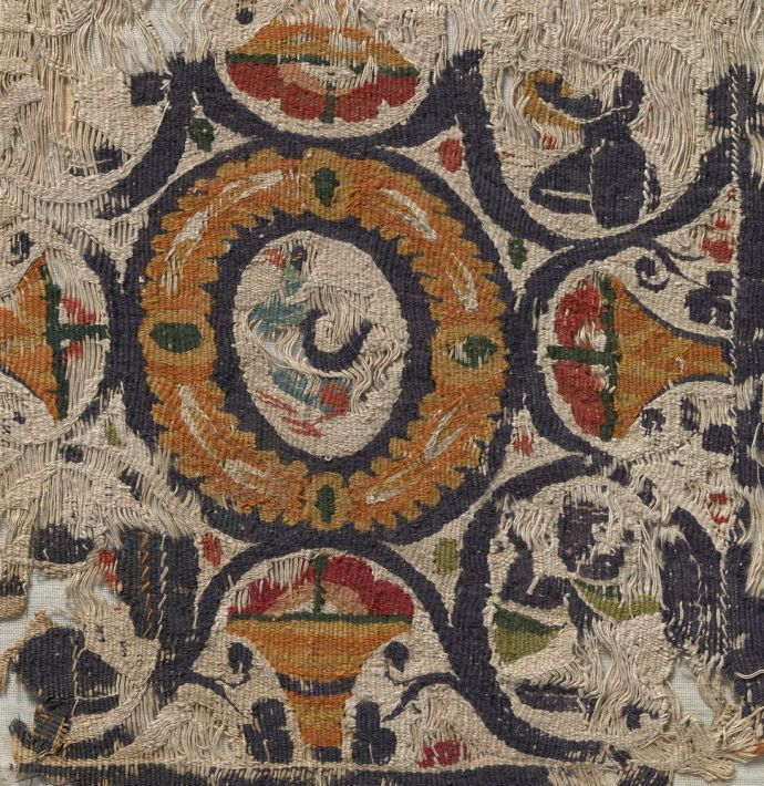 A fragment of a Coptic textile; 5th–6th cent. -  Upper Egypt; linen, wool; National Museum of Slovenia. Photo - Tomaž Lauko.jpg