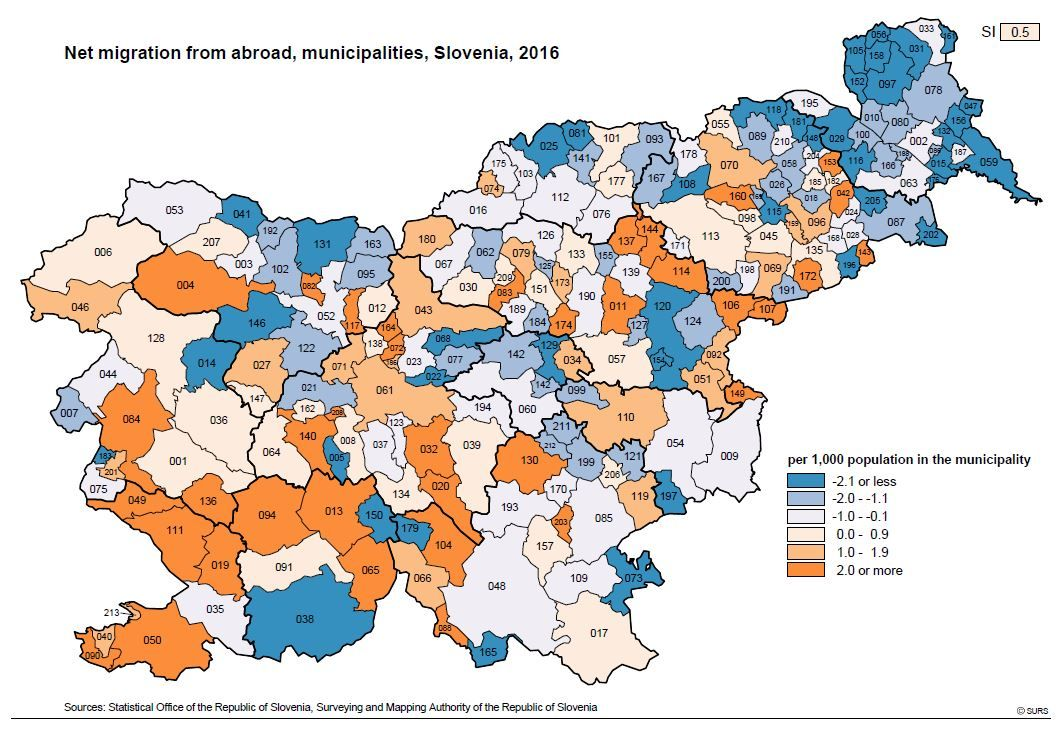Net migration from abroad, municipalities, Slovenia, 2016.JPG