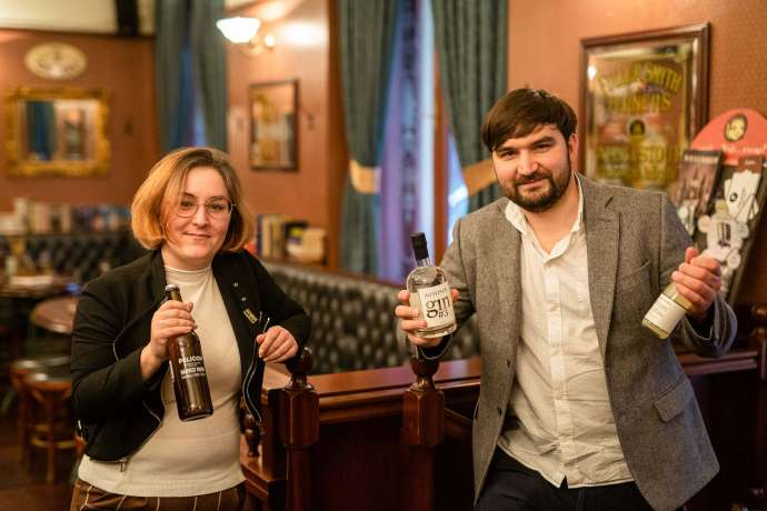 Anita Calavita of Pelicon and Miha Bratina of Bratinov Gin at Sir Williams Pub, Ljubljana