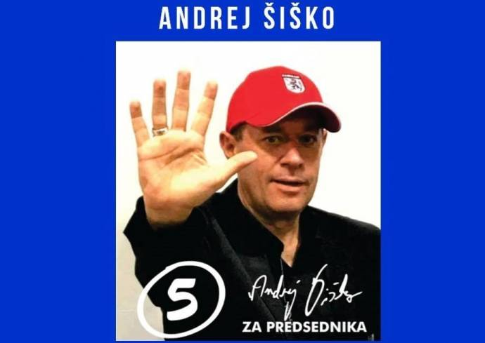 An image promoting Šiško's run for President last year