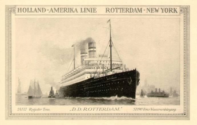 The SS Rotterdam IV ocean liner in 1908, the ship Margaretha used in 1915