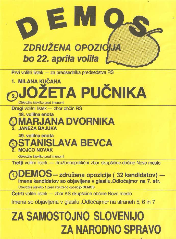 Demos' election campaign poster, 1990
