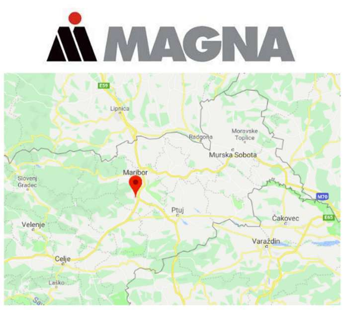 Magna's logo and the location of the plant