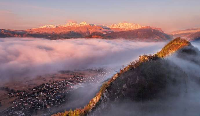 Foggy Morning Under The Julian Alps
