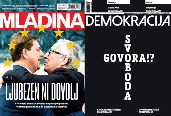 Mladina: Love is not enough. Slovenian ministers are among the worst in Brussels when fighting for the national interest. Demokracija: Free Speech?!