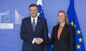 President Borut Pahor and the EU's foreign policy chief Federica Mogherini