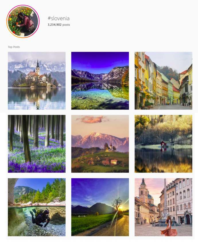 The top posts for #slovenia, as of 23 April 2019