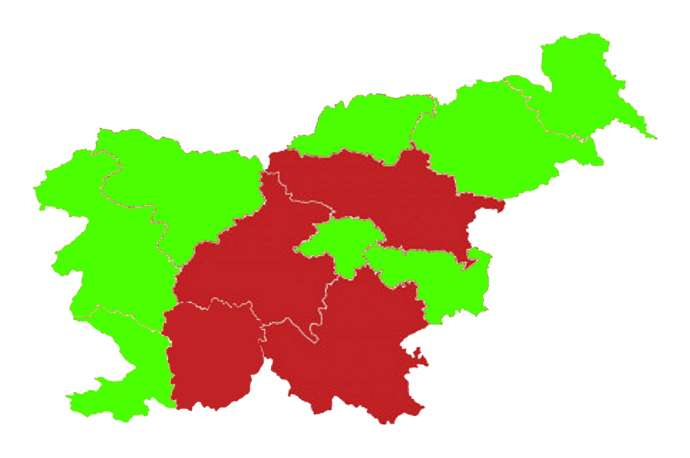 The lucky regions in green
