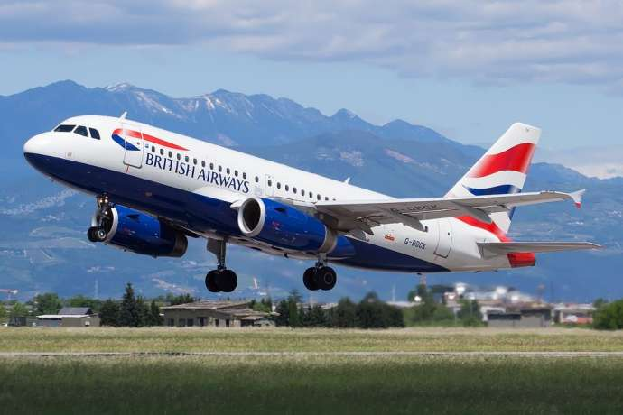 A British Airways Airbus A319-131, flying out of Italy