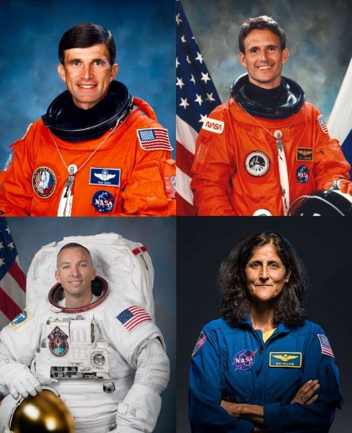 Clockwise from top left: Ronald Šega, Jerry Linenger, Sunita Williams and Randy Bresnik.