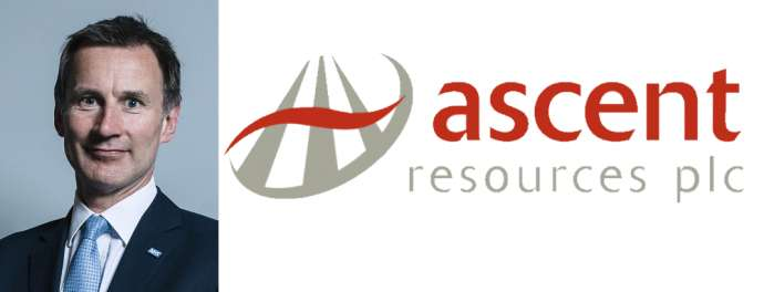 UK Foreign Secretary Jeremy Hunt, with the logo of Ascent Resources, the company whose troubled fracking project he was lobbying for in Slovenia