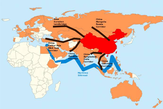 Map of China's One Belt One Road Initiative