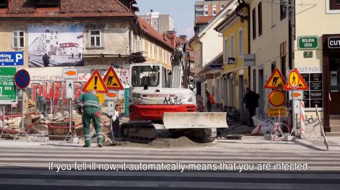 Despite Covid-19, Immigrant Construction Workers Continue to Work in Ljubljana (English Subtitles)