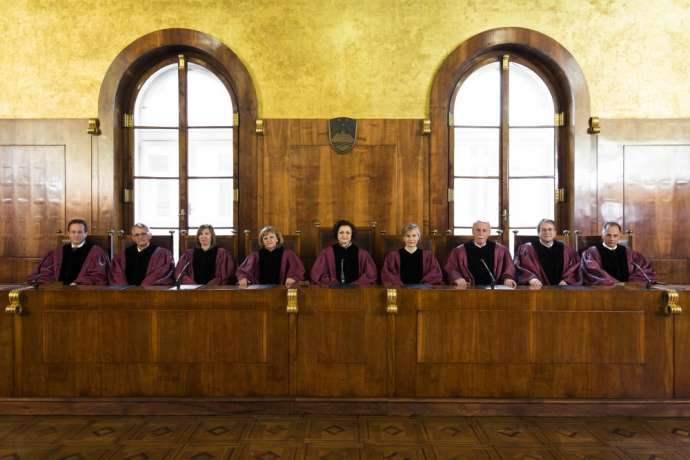 The members of the Constitutional Court in July 2018