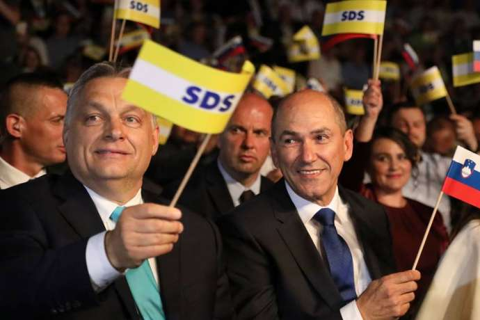 Viktor Orban and Janez Janša at an SDS event