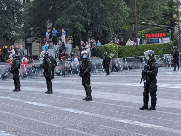 Police in Trg republike (Republic Square) in front of Parliament, Ljubljana