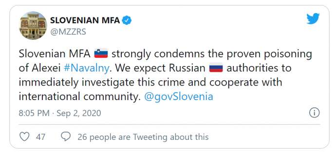 Slovenia Condemns Poisoning of Alexei Navalny, Demands Explanations from Russia