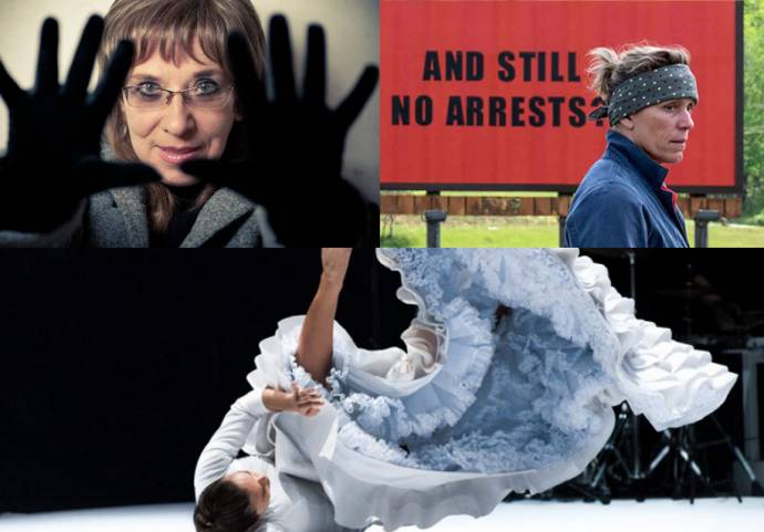 Clockwise from top left: Svetlana Makarovič; Three Billboards Outside Ebbing, Missouri; and Rocío Molina