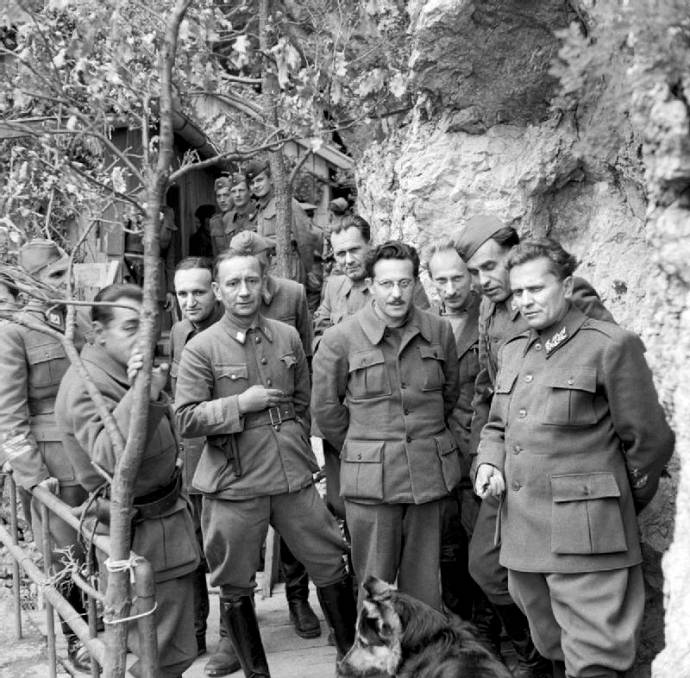 On the far right, Marshal Tito during WWII in Yugoslavia, May 1944