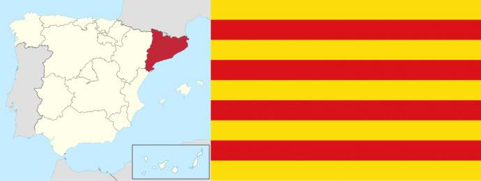 Catalonia and one of its flags