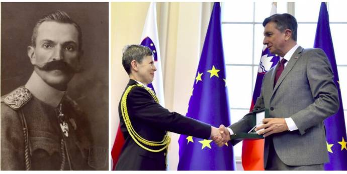 Left, Rudolph Maister. Right, Major General Alenka Ermenc and President Borut Pahor