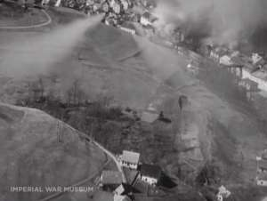 Idrija from the attacking plane, 1945