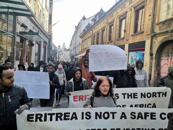 Eritreans Stage Protest Against Asylum Rejections in Ljubljana