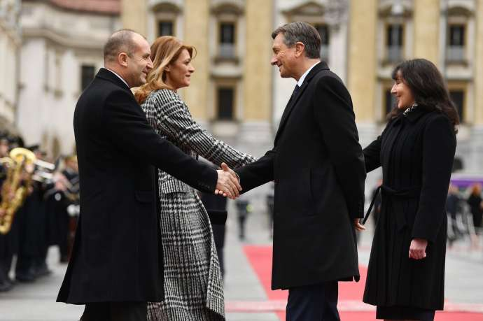 The Bulgarian President  Rumen Radev, Slovenian President Borut Pahor, and their partners