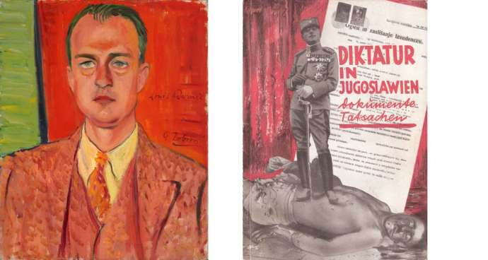 LEFT: Petar Dobrović, Portrait of Louis Adamič, 1932, oil on canvas, Heritage House (Gallery Petar Dobrović), Belgrade; RIGHT: Ivana Tomljenović-Meller, photo montage on the cover of the book Diktatur in Jugoslawien, 1930, private ownership, Zagreb.
