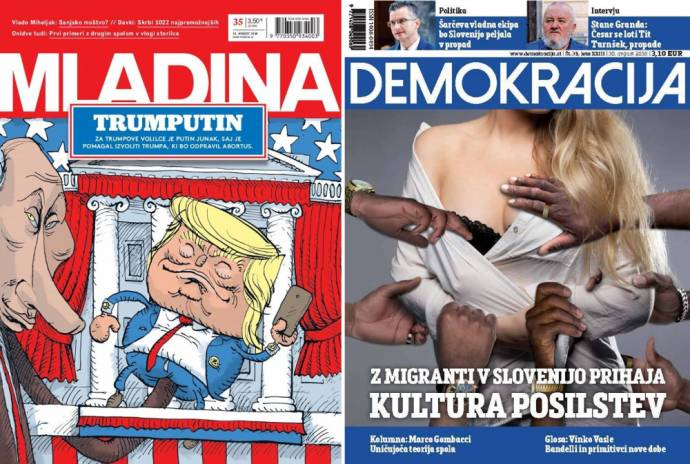 Mladina: Trumputin. For Trump voters Putin is a hero because he helped elect Trump to end abortion. Demokracija: With immigrants rape culture comes to Slovenia